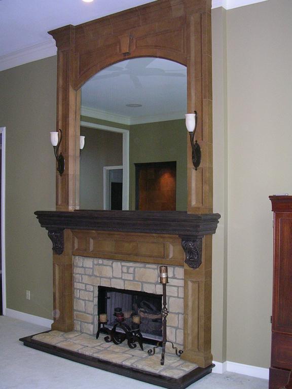 Stone Fireplace Worn Leather_1