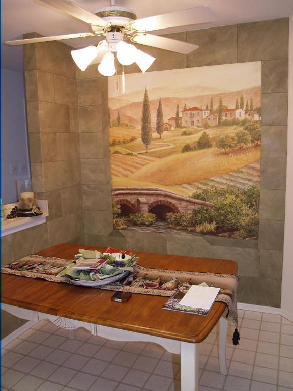 Stone Kitchen Walls with Mural_1