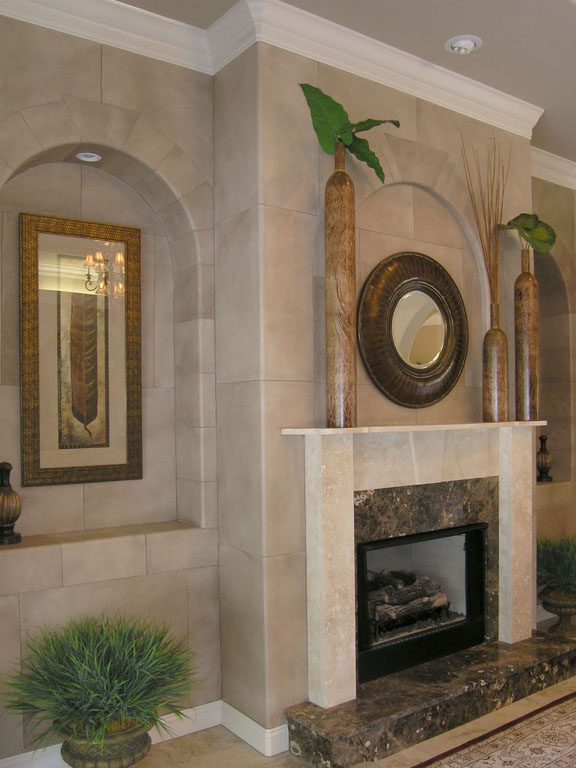 Faux Stone Fireplace with Archways_1